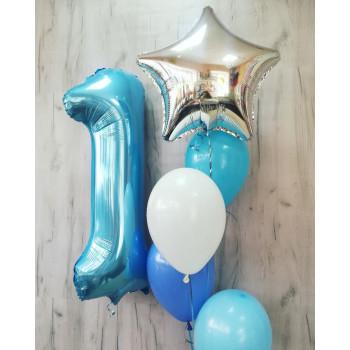 №18 Шар цифра с фонтаном из шариков