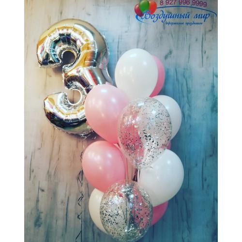 №19 Шар цифра с фонтаном из шаров